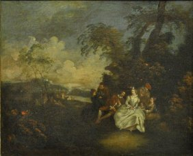 Lancret, Nicolas [french, 1690-1763] Oil On Canvas