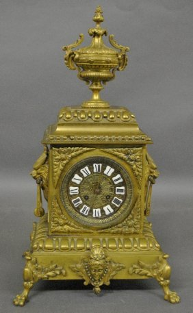 Ornate Brass Mantle Clock, Late 19th C., Probably
