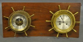 Salem Ship's Eight-day Brass Clock And A Barometer Both