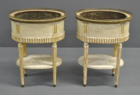 Pair Of French Oval White Planters With Copper Inserts,