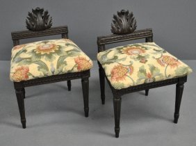 Pair Of French Style Mahogany Footstools With Acanthus