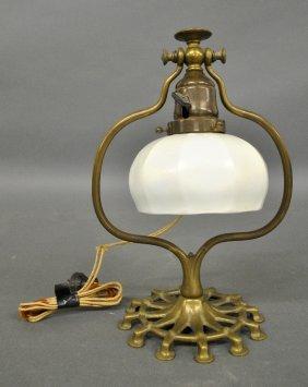 Art Nouveau Brass Lamp With A Quezal Glass Shade.