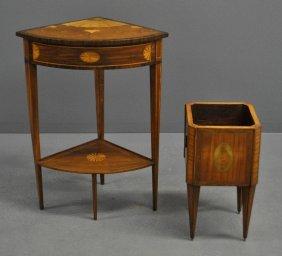 Hepplewhite Style Inlaid Mahogany Corner Table,