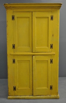 Yellow Paint Decorate Cupboard, Early 19th C., With