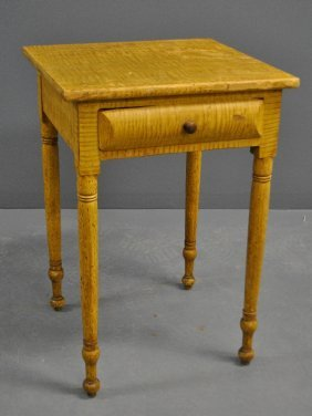 Country Sheraton Grain-painted Tiger Maple Stand With