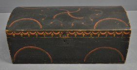 New England Black Painted Dome-lid Box With Original