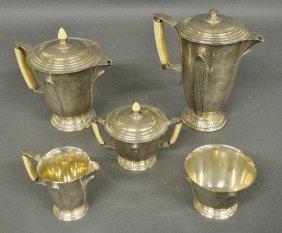 Reed & Barton Five-piece Sterling Silver Art Deco Tea
