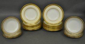 Set Of Sixteen Minton Soup Plates With Gilt Rims,