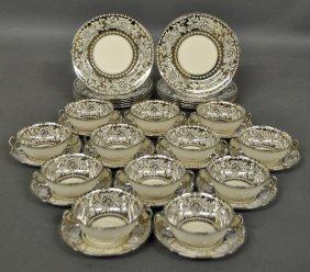 Twelve Bouillon Bowls With Under Plates And Twelve