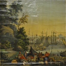 French Printed Panel (vue De L'amerique Du Nord), One