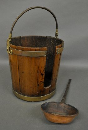 """English Mahogany/brass Peat Bucket, 14""""h., And A Copper"""