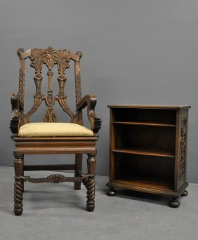 Carved Mahogany Armchair Tog. With A Mahogany Bookrack