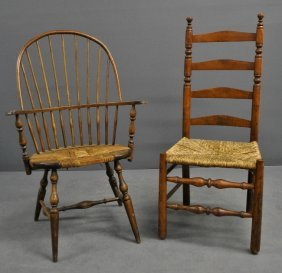 Ladder Back Chair With A Rush Seat Tog. With A Windsor