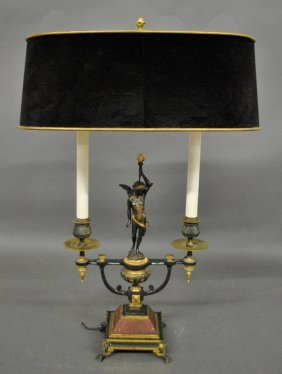 Early French Fire Gilt Metal Lamp, C.1920, With A