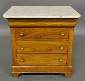 Miniature French Fruitwood Marble Top Chest, C.1870.