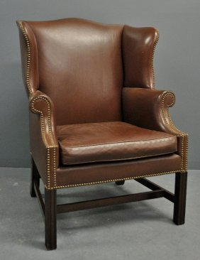 Chippendale Style Mahogany Red Leather Wing Chair.