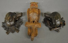"Black Forest Carved Owl Coat Hook, 12""h., And Two"