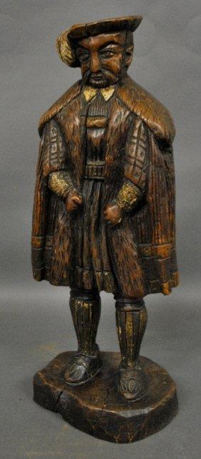 "Carved Walnut Figure Of Henry Viii. 26""h.x11""w."