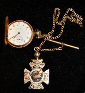 "14k Gold Cased Elgin Pocket Watch, 1.25""dia., And A"
