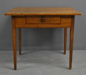 Country Hepplewhite Cherry Table With A Two-board Pine