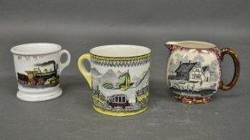 """Porcelain Railroad Occupational Mug Signed """"d.h."""