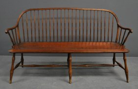"""Pennsylvania Windsor Style Settee Signed """"d.r."""