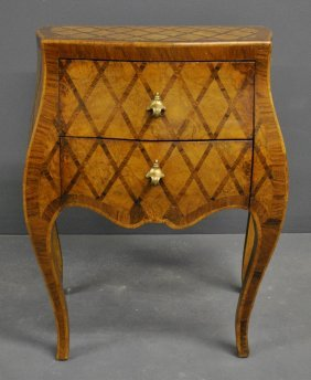"French Marquetry Inlaid Two Drawer Chest, 19th C. 29""h."