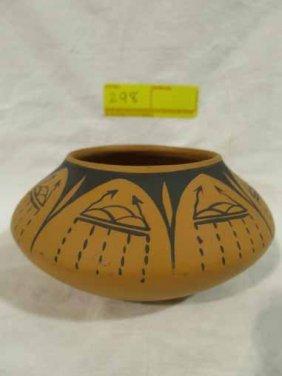 Native American Style Pottery Orange And Black Designs,