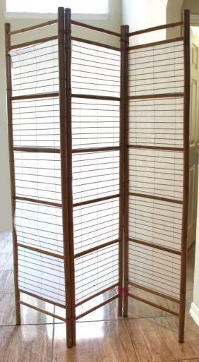Bamboo And Rice Paper Three Panel Screen