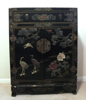 Black Lacquered Cabinet With Carved Jade Inlay