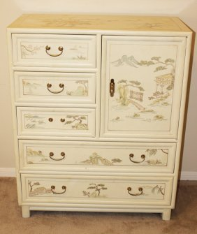 Hand Painted White Lacquered Dresser