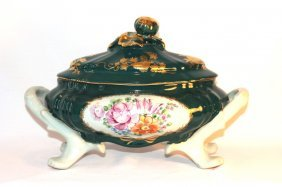 Large Footed Porcelain Serving Dish With Lid