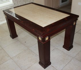 Marble Top Dinning Table On Rosewood Base