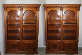 Pair Of Cherry Wood Finished Book Cases