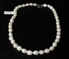 Freshwater Pearl Estate Necklace With Sterling Sil