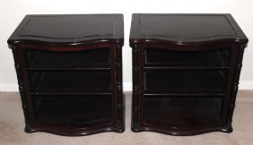 Pair Of Solid Rosewood Night Stands With Shelves