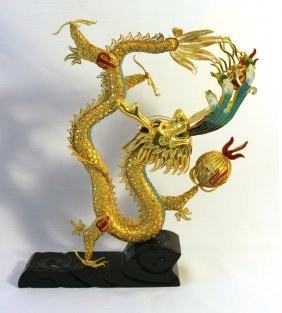 Gilded Enamel Wire Dragon Sculpture On Base.