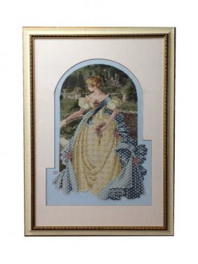Framed And Matted Hand Embroiled Female Figure