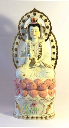 Vintage Porcelain Kuan Yin On Lotus Flower.