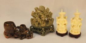 Four Pieces, Carved Soapstone And Emperors