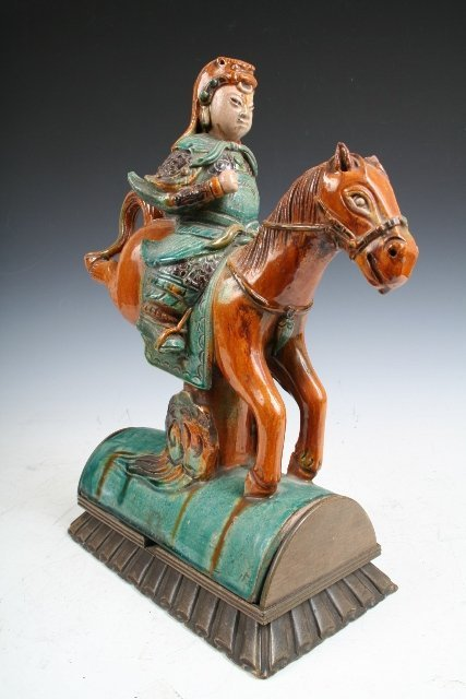 8 Chinese Horse Warrior Ceramic Roof Tile 19th C Lot 8