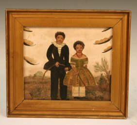 Watercolor Black Americana Folk Art 19th C.