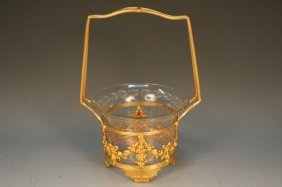 French Crystal & Bronze Basket 19th C.