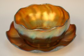 Tiffany Nouveau Glass Finger Bowl & Underplate