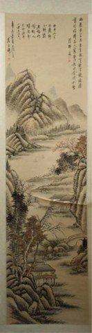 Chinese Scroll Painting Of Landscape Luk Shi Du