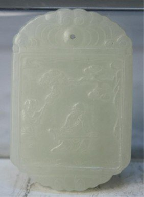 Chinese Carved Jade Pendant With Figures