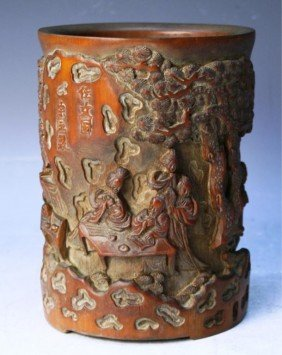 Chinese Carved Bamboo Brushpot With Figures