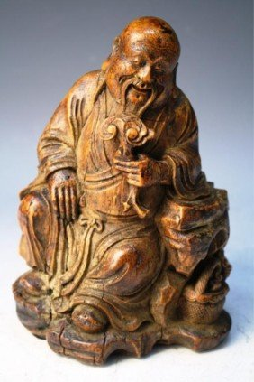 Chinese Carved Bamboo Root Of Old Sage