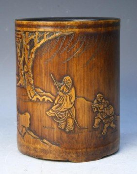 Chinese Bamboo Brushpot With Figural Scene
