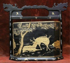 Japanese Antique Gold & Black Lacquer Obento Box